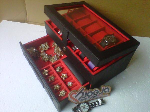 New Box Jam Tangan Mix Accesories Drawer Jogja Handycraft Black Inner Red