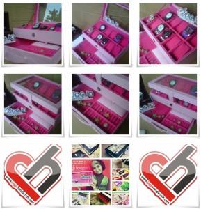 Girly Baby Pink Box Jam Tangan Isi 12 Mix Accesories Drawer