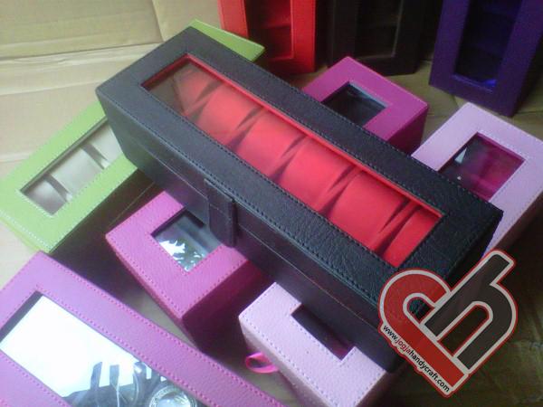 New Watch Box Organizer Isi 6 Balck Inner red Jogja Handycraft