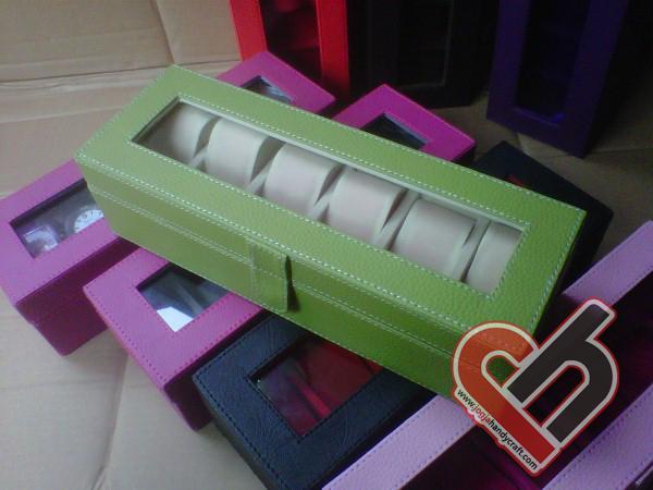 New Watch Box Organizer Isi 6 Green Jogja Handycraft