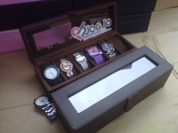 Photo of Full Dark Brown Watch Box Organizer Isi 6 (Tempat Jam Cantik Isi 6)
