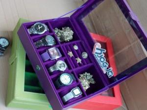 Cute Purple 3in1 Boxes | Kotak Jam Kombinasi Perhiasan Cantik