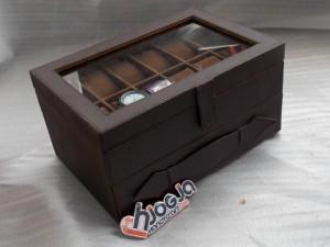 Brown Watch mix Glasses Box Organizer