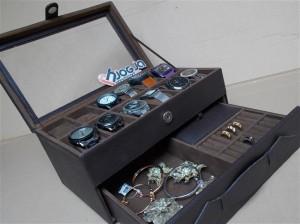 Full Dark Brown Watch Box Organizer Isi 12 Mix Accesories Drawer