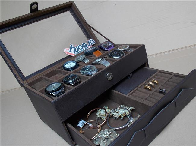 Full Dark Brown Watch Box Organizer Isi 12 Mix Accesories Drawer