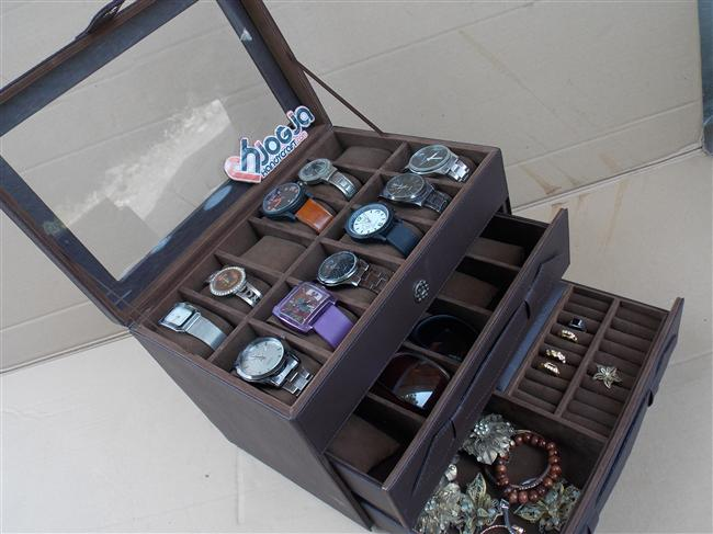Photo of Watch Box Organizer For 12 Watches Mix Glasses and Accesories Drawer
