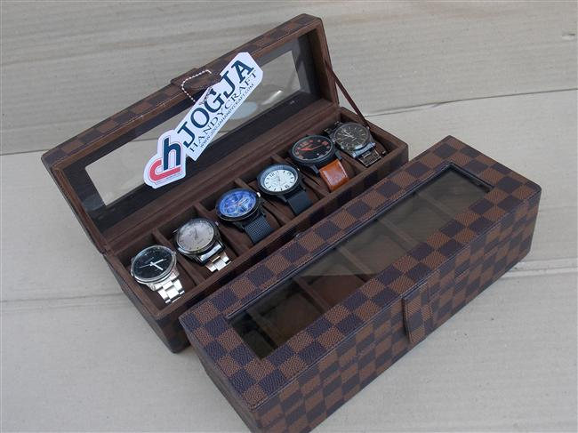 Photo of LV DAMIER WATCH BOX ORGANIZER FOR 6 PCS WATCHES | BOX JAM ISI 6 MOTIF LV DAMIER