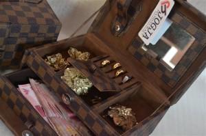 LV damier jewelry box square drawer