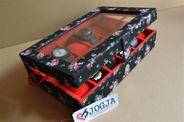 FLORAL BLACK WATCH BOX FOR 12 PCS WATCHES | KOTAK JAM ISI 12