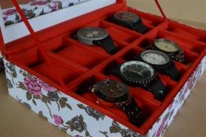 WAHITE FLORAL WATCH BOX FOR 12 PCS WATCHES   KOTAK JAM TANGAN ISI 12
