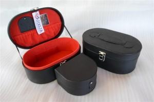 OVALIUM JEWELRY BOX BLACK INNER RED