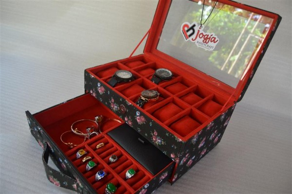 BLACK FLORAL WATCH BOX FOR 12 WATCHES MIX ACCESORIES DRAWER