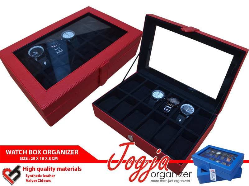 Photo of Red Black Watch Box For 12 Watches | Box Jam Tangan Isi 12
