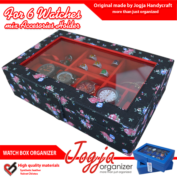 Photo of Black Floral Watch Box Mix Accesories Holder | Kotak Jam dan perhiasan