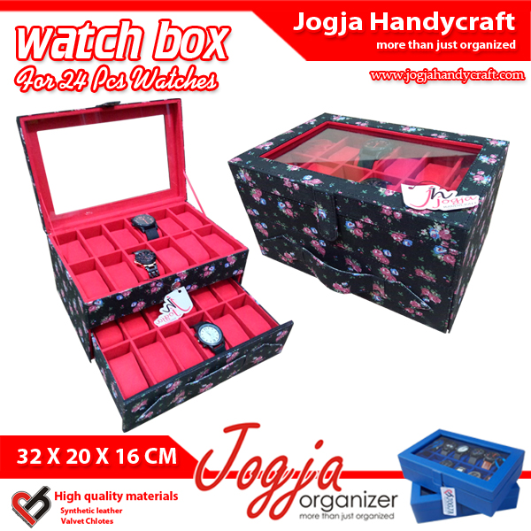 Photo of KOTAK JAM TANGAN | BOX JAM | TEMPAT JAM TANGAN ISI 24 BLACK FLORAL