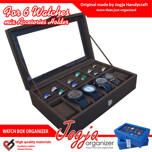 Photo of Brown Watch Box Mix Ring Organizer | Box Jam Kombinasi Tempat Cincin