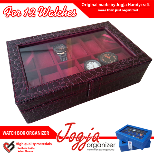 Photo of Maroon Croco Watch Box Organizer For 12 Watches | Kotak Jam Isi 12