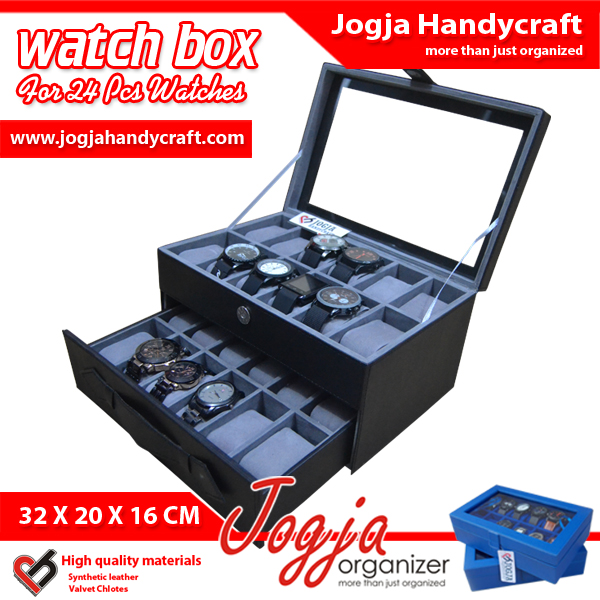 Photo of Black Grey Watch Box For 24 Watches – Kotak Jam Tangan Isi 24