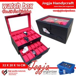 Kotak Tempat Jam Tangan Isi 24 Hitam Dalam Merah – Watch Box Organizer