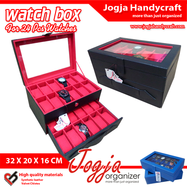 Photo of Kotak Tempat Jam Tangan Isi 24 Hitam Dalam Merah – Watch Box Organizer