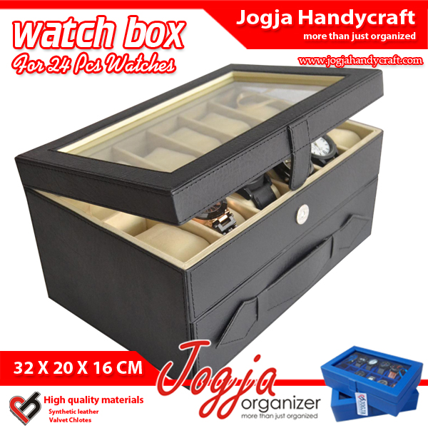 Photo of Kotak Tempat Jam Isi 24 Hitam Dalam Cream – Watch Box Organizer