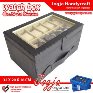 Kotak Tempat Jam Isi 24 Hitam Dalam Cream – Watch Box Organizer
