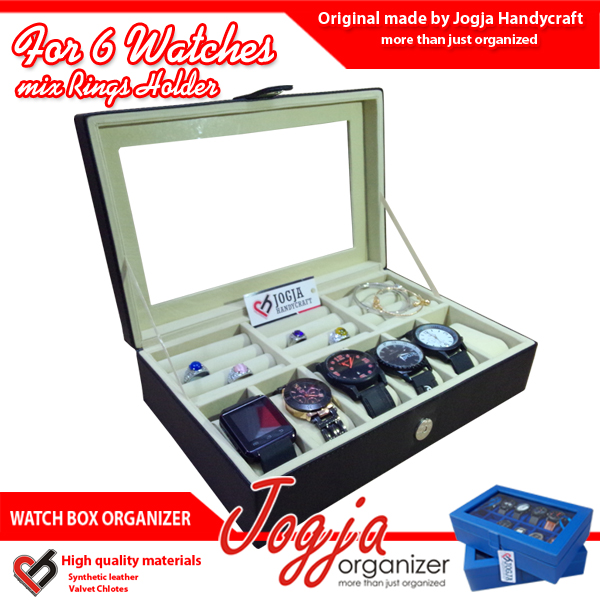 Photo of Black Cream Watch Box Mix Ring Organizer | Tempat Jam Tangan Mix Tempat Cincin