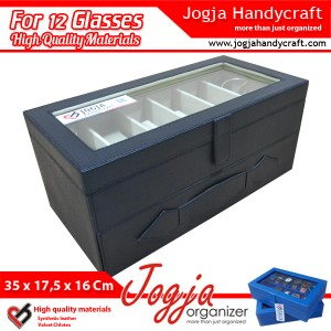 Black Cream Glasses Box Organizer | Kotak Tempat Kacamata Isi 12