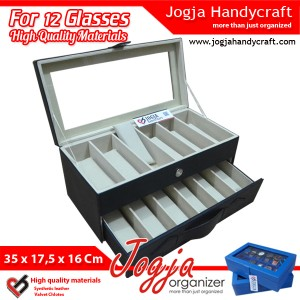 Black Cream Glasses Box Organizer | Kotak Tempat Kacamata Isi 12