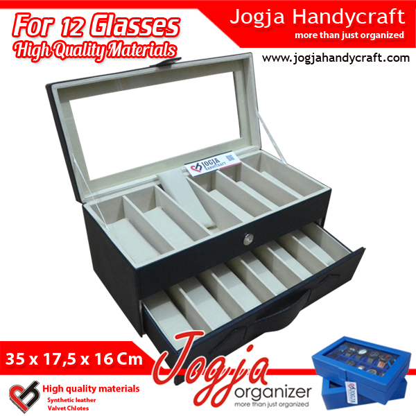 Photo of Black Cream Glasses Box Organizer | Kotak Tempat Kacamata Isi 12