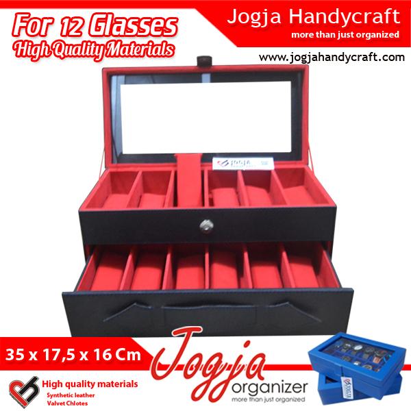 Black Red Glasses Box Organizer | Kotak Tempat Kacamata Isi 12