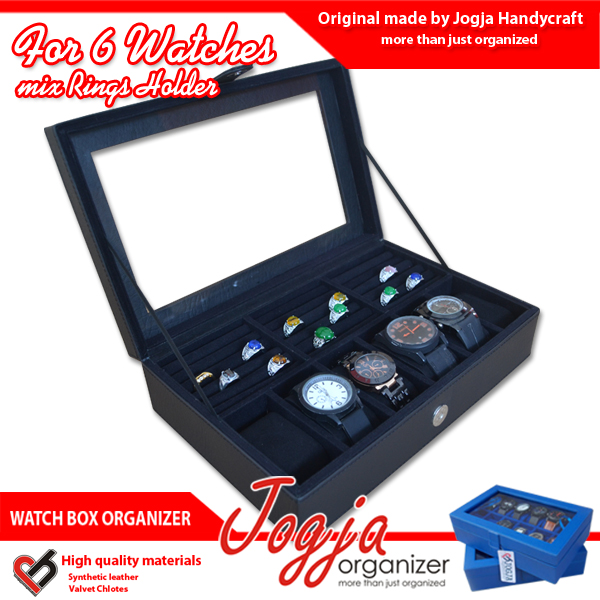 Photo of Full Black Watch Box Mix Ring Organizer | Kotak Jam Kombinasi Tempat Cincin