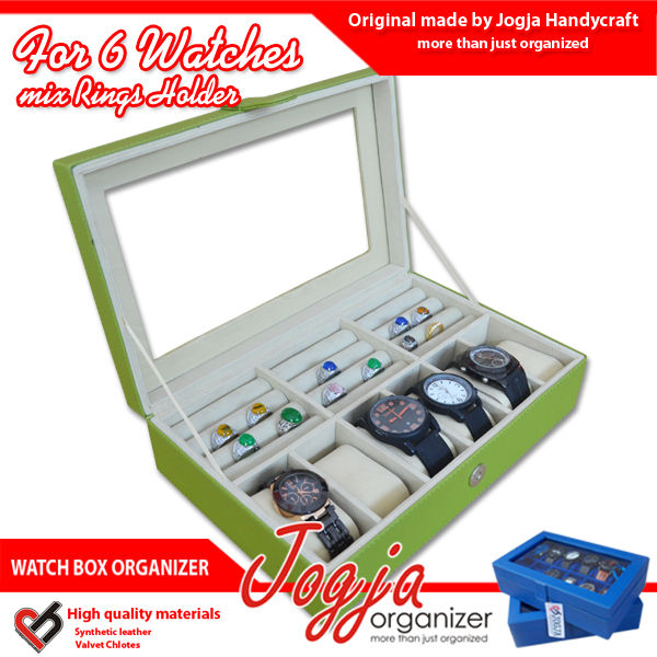 Photo of Green Cream Watch Box Mix Ring Organizer | Kotak Jam Kombinasi Tempat Cincin