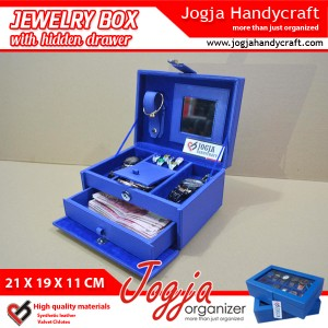 Benheur Blue Jewlery Box With Hidden Drawer