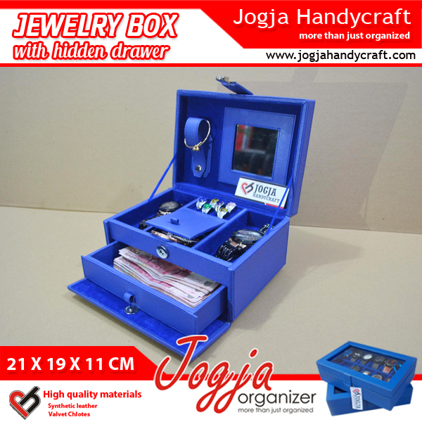 Benheur Blue Jewlery Box With Hidden Drawer
