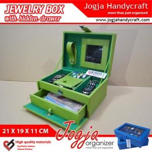 Green Light Jewelry Box With Hidden Drawer | Kotak Tempat Perhiasan