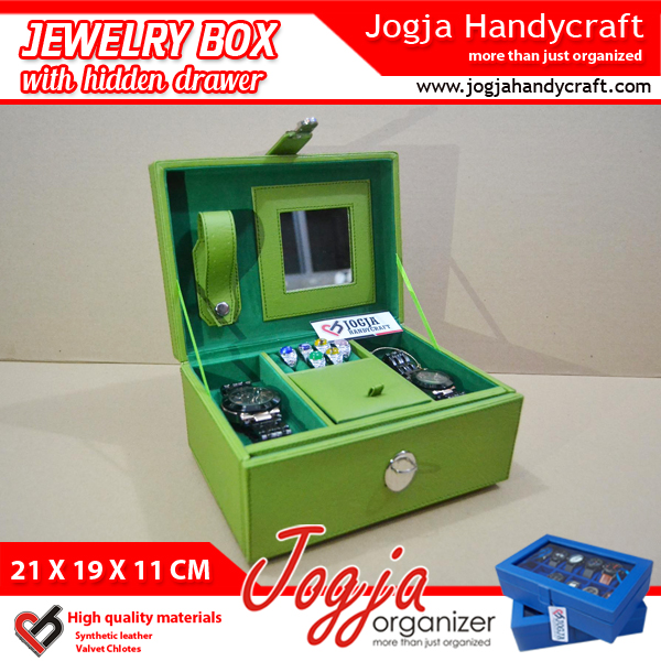 Green Light Jewelry Box With Hidden Drawer | Kotak Tempat Perhiasan