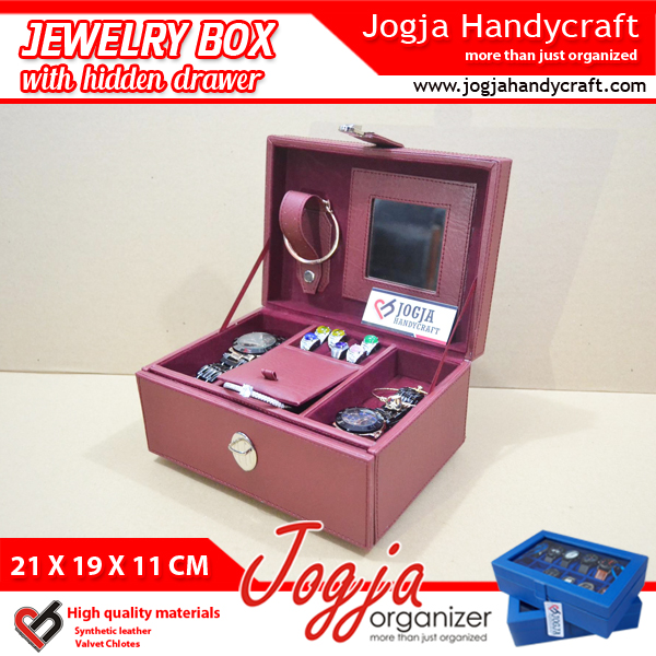 Red Maroon Jewlery Box With Hidden Drawer