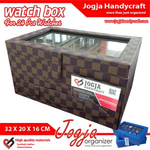 Box Jam Tangan 24 Motif Damier l Tempat Jam Tangan l Kotak Jam Tangan