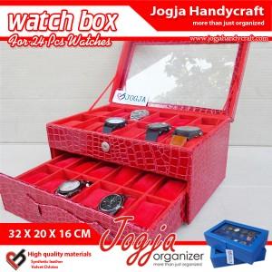 Red Croco Watch Box For 12 Watches | Kotak Tempat Jam Tangan Isi 24