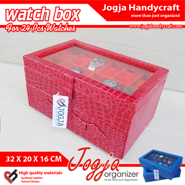 Photo of Red Croco Watch Box For 24 Watches | Kotak Tempat Jam Tangan Isi 24