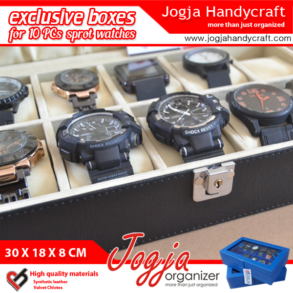 LARGE SIZE WATCH BOX FOR 10 WATCHES WITH LOCK