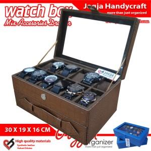 Elegan Brown Croco Watch Box Mix Jewelry Drawer / Kotak Tempat Jam Tangan