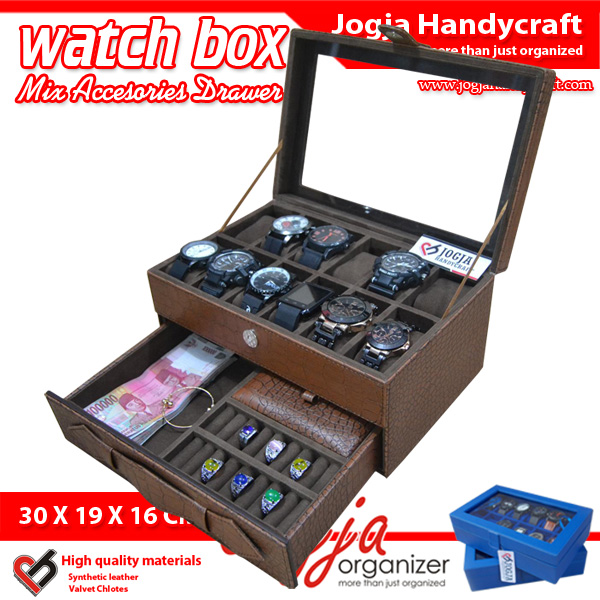 Photo of Elegan Brown Croco Watch Box Mix Jewelry Drawer / Kotak Tempat Jam Tangan