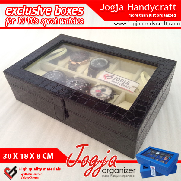 Photo of Luxury Black Croco Inner Cream Large Size Watch Box For 10 Sport Watches