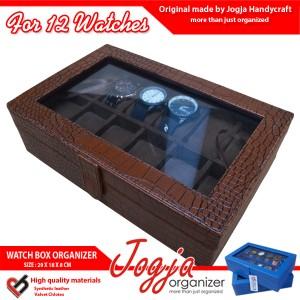 Kotak Jam Tangan isi 12 Brown Croco