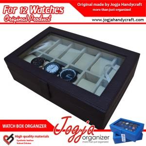 Brown Cream Watch Box Organizer For 12 Watches