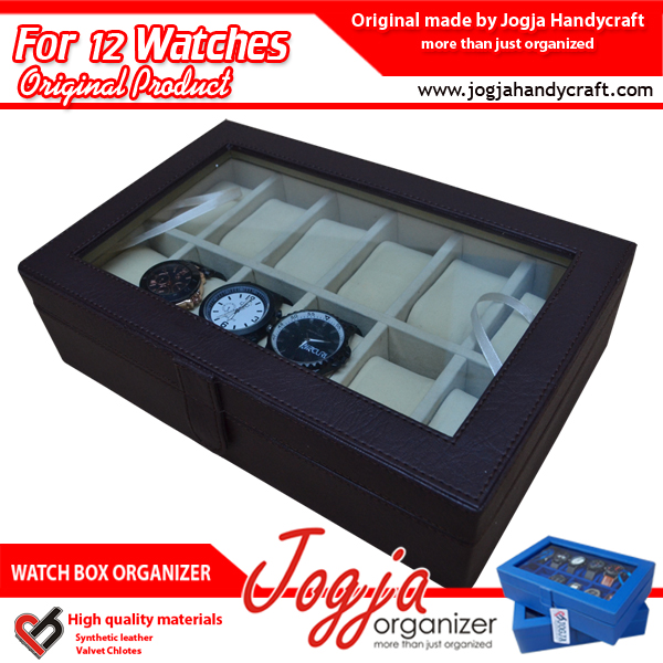 Brown Cream Watch Box Organizer For 12 Watches