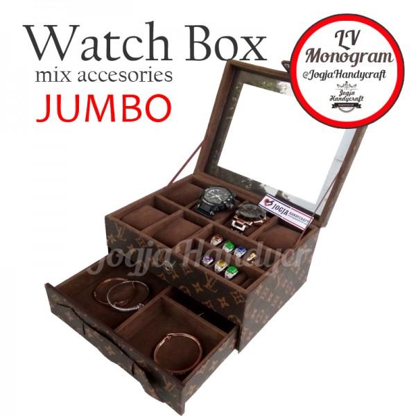 Kotak Tempat Jam Tangan Sport mix Tempat Perhiasan LV Monogram