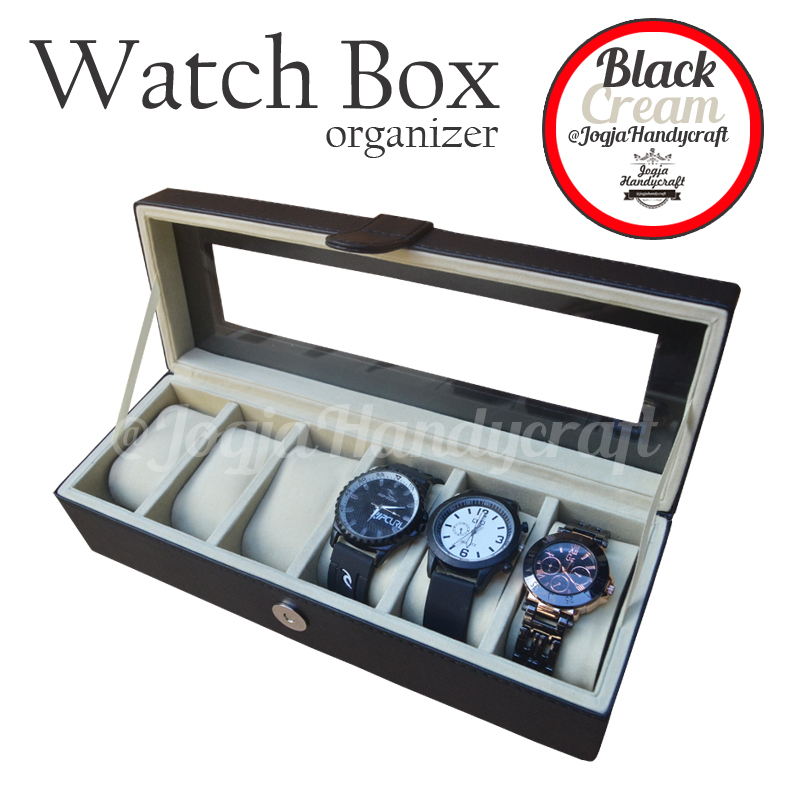 Photo of Black Cream Watch Box Organizer / Kotak Tempat Jam Tangan Isi 6